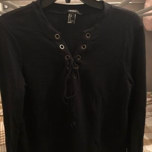 Tie-up front black long sleeve top